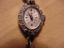 Vintage Waltham Womens Watch 21 jewel 10 Kt RGP 12 Diamond Excellent time keeper