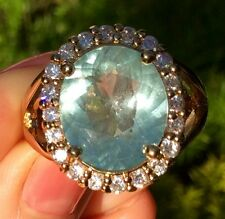 6.40ct Natural earth mined ocean blue Aquamarine sterling silver Estate ring 11
