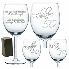 Engraved Personalised Wine Glass Fabulous Naughty Flirty at 50 40 30 21 18 Bday