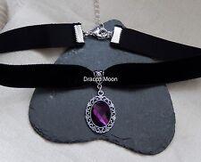 Gargantilla De Terciopelo Negro/collar/Gótico Victoriano Cabujón Púrpura Oscuro/Graduación Uk