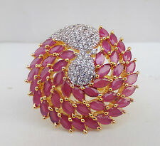 Indian American Diamante Fashion Jewelry Gold Plated Ruby Party Ring Adjustable