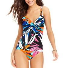 INC International Concepts One Piece Suit Sz 22W Blue V Neck Swimsuit 470602W