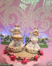 Vtg LOT OF 2 LEFTON Angels May W Flowers June Bride w Bouquet Wing Repair on MAY