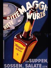 Publicité alimentaire assaisonnement MAGGI Allemagne Bouteille Vapeur Poster Art Print lv897