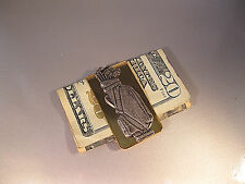 "FOR THE GOLFER-""MONEY CLIP W/PGA LOGO ON BAG"" GOLD/ANTIQUE SILVER FINISHES-LOOK"