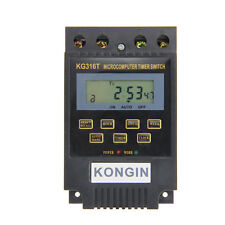 KG316T AC 220V Micro computer Timer Switch Programmable Controller ON/OFF Black