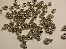 40 X Plastic Smooth Bail Beads Rondelle, Nickel Colour,12mm X 8mm X 5mm Findings