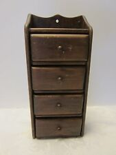 """Vintage Wall Hanging Wood Spice storage Cabinet 4 drawers Primitive 11 ½"""" tall"""