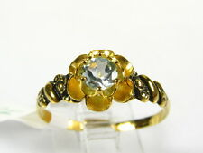 Victorian 14k Yellow Gold Sterling Silver Natural Blue Topaz Floral Ring I062BT