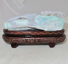 """3.75"""" Australian OPAL Chinese Carving of Chilong Baby Dragon & Bok Choy w/ Stand"""