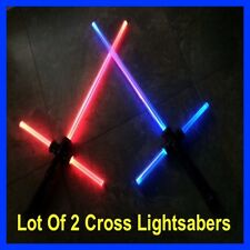 LOT OF 2 STAR WARS LIGHTSABER CROSS LIGHT SABER SWORD SOUND FX TOY BEST PRICE!!!