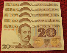 POLAND BANKNOTE PRL 20 ZLOTYCH ROMUALD TRAUGUTT 1982 YEAR UNC LOT SET NOTE 1 PC
