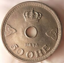 1948 NORWAY 50 ORE - Excellent Vintage Coin - FREE SHIPPING - Norway Bin #3