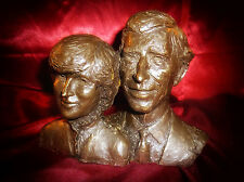 RARE HEREDITIES Bronze CHARLES & DIANA ENGAGEMENT BUST SCULPTURE Limited Edition