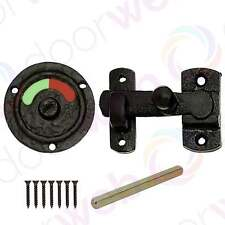BLACK ANTIQUE IRON BOLT Vacant Engaged Indicator Bathroom Door WC Toilet Lock