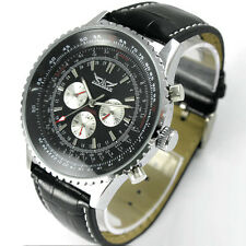 Luxury Men Leather Band Automatic Mechanical Multi-function Date Day Wrist Watch