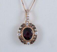 $2,400 LeVian 14K Rose Gold Chocolate Quartz Sapphire Garnet Pendant Necklace
