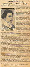 51 REIMS MLLE JEANNE MAUGEL PILULES PINK PUBLICITE 1912
