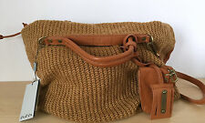 NEW Ensoen EN SO EN Womens Brown Knit Fabric Leather Oversized Tote Purse Bag
