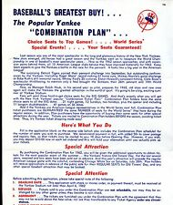 1962 New York Yankees Baseball Combination Ticket Plan Order Form