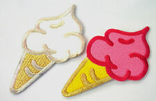 Strawberry Vanilla Ice Cream Patches Pink White Sew or Iron on Cloth Badges 2pc