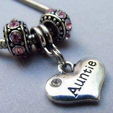 Auntie Heart European Charm Bead With Birthstones For Large Hole Charm Bracelets