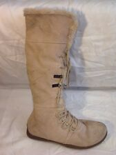 Canvas Beige Knee High Suede Boots Size 6