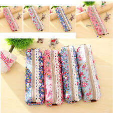 Cute Unique Flower Floral Lace Pencil Pen Case Cosmetic Makeup Bag Zipper Pouch