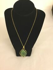 NEW GREEN AGATE NECKLACE WITH ENHANCER PENDANT NECKLACE IN YELLOW GOLD TONE