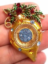 "VINTAGE ESTATE UNSIGNED WEISS RHINESTONE XMAS TREE ORNAMENT 2 1/4"" BROOCH! G4704"