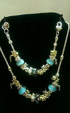 Murano glass beads lampwork european charm bracelet w/ matching necklace