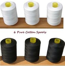 3 Black & 3 White Pure100% Cotton Sewing Machine Thread 800M Large Spools Reels