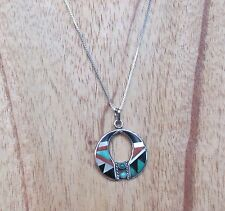 ZUNI STERLING SILVER PENDANT NECKLACE WITH MULTI STONE INLAY SIGNED BOONE, 5.10