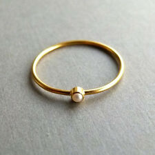 Real Natural Pearl Ring 14k Yellow Gold Handmade Gemstone Jewelry Size 5 to 7
