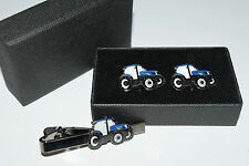 New Holland Ford Blue Tractor Cufflinks&Tie Clip Wedding Farmer Gift Box Enamel