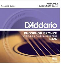 3 sets D'Addario EJ-26 Phosphor Bronze 11-52 Acoustic Guitar Strings 3D