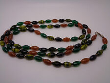 """FLAPPER LENGTH GLASS BEADED NECKLACE MULTI COLOURED GREEN ORANGE RICE BEAD 41"""""""