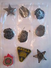 9 VINTAGE TOY METAL/TIN POLICE BADGES, FIRE CHIEF, MAN FROM UNCLE - TUB BN