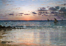 Oil painting seascape sail boats and ocean waves in the sunrise view no framed