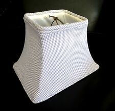 Vintage LAMP SHADE Clip On Blue White Check