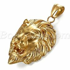 "Men's Biker Gold Tone Stainless Steel Lion Head Pendant Necklace Chain 22"" Gift"