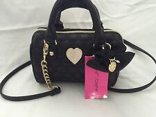 Betsey Johnson Barrel Mini Handbag Black With a Black Bow Gold Hardware Nwts