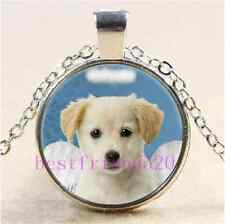 Christmas Angel Puppy Cabochon Glass Tibet Silver Chain Pendant Necklace#AC23
