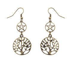 Lux Accessories Boho Burnish Gold Casted Pentagram Tree of Life Tiered Earrings