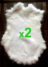 2 x White Rabbit Skin Fur Pelt Tanned for; crafts, fabric, LARP, dummy