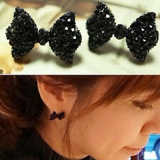 Lovely Bowknot Black Rhinestone Crystal stud earrings Fashion Jewelry 1 pair