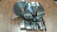 """10"""" 4-JAW SELF-CENTERING  LATHE CHUCK w. L00 adapter back plate, 4 extra jaws"""