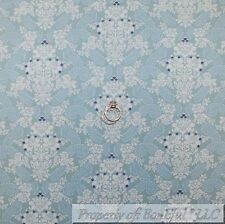 BonEful Fabric Cotton Quilt Light Blue White Rose Flower Paisley Damask US SCRAP