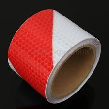 """3M Red White Reflective Safety Warning Conspicuity Tape Film Sticker 2"""" x 10"""""""