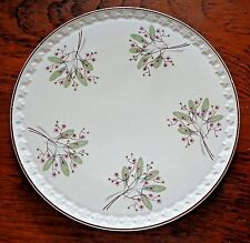 """Mid-Century H. AYNSLEY CAKE PLATE/ PLATTER 11 1/4"""" PINK & GREEN FLORAL Free Ship"""